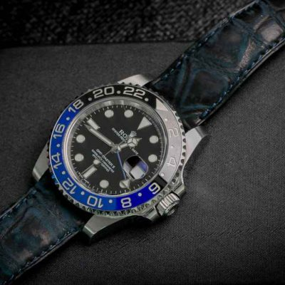 ABP PARIS Blue Louisiana Alligator Nubuck Strap Size 20 / 16 mm.